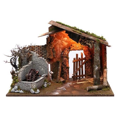 Capanna con mulino e luce 45x60x35 cm 1