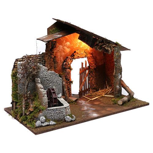 Capanna con mulino e luce 45x60x35 cm 3