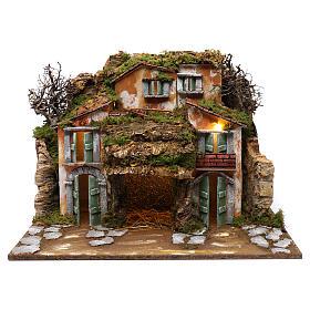 Ambientações para Presépio: lojas, casas, poços: Aldeia com gruta 45x60x50 cm