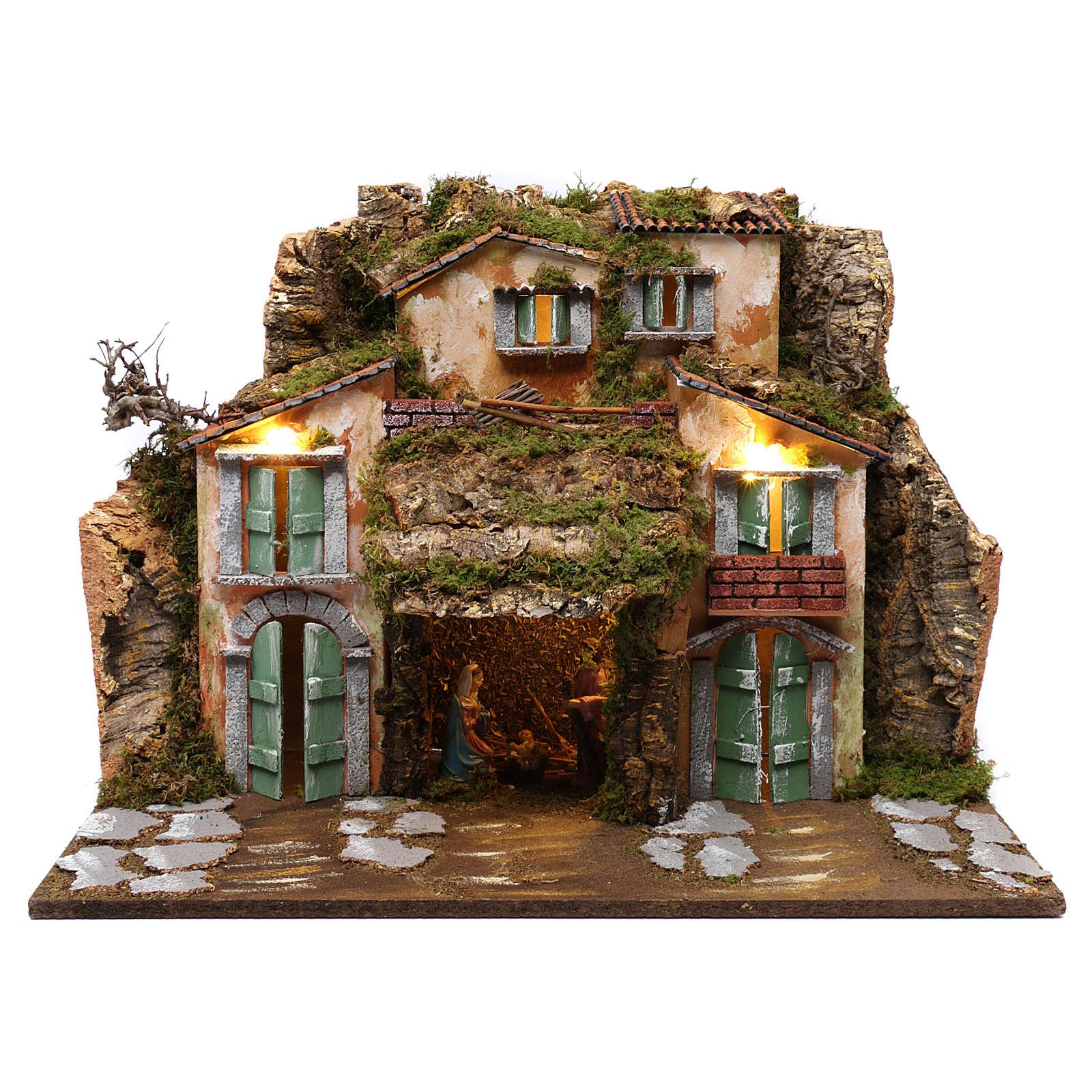 Grotta con Natività e casette 45x60x50 cm 4