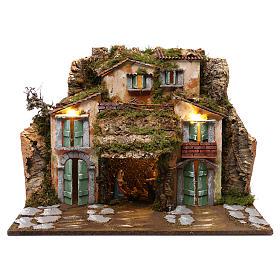 Grotta con Natività e casette 45x60x50 cm s1