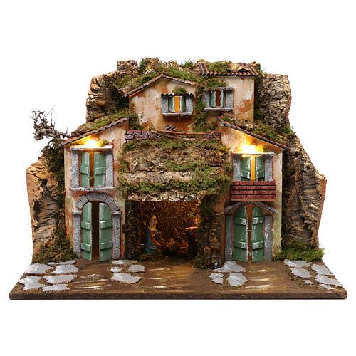Grotta con Natività e casette 45x60x50 cm 1