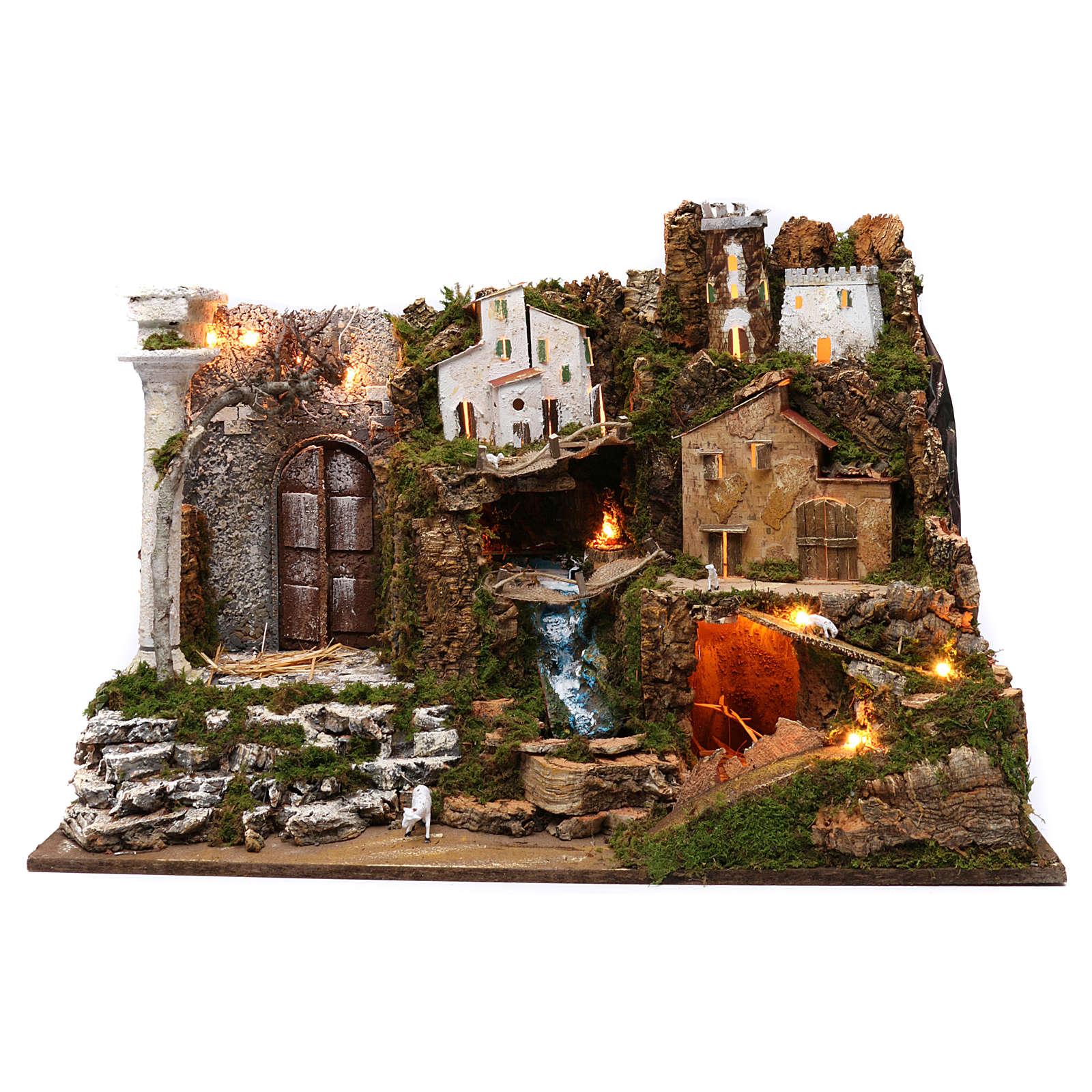 Villaggio con cascata e luci 50x75x40 cm 4