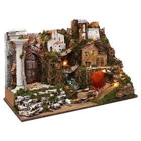 Villaggio con cascata e luci 50x75x40 cm s3