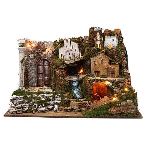 Villaggio con cascata e luci 50x75x40 cm 1