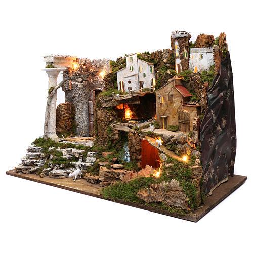 Villaggio con cascata e luci 50x75x40 cm 2