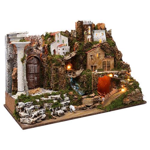 Villaggio con cascata e luci 50x75x40 cm 3