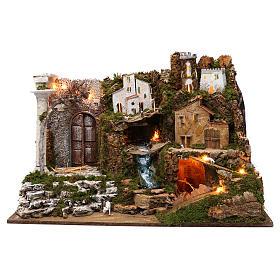 Ambientações para Presépio: lojas, casas, poços: Aldeia com cascada e luzes 50x75x40 cm