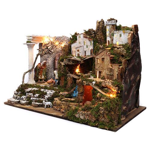 Villaggio con Natività e cascata 50x75x40 cm 2