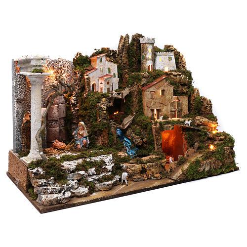 Villaggio con Natività e cascata 50x75x40 cm 3