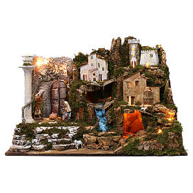 Ambientações para Presépio: lojas, casas, poços: Aldeia com Natividade e cascata 50x75x40 cm