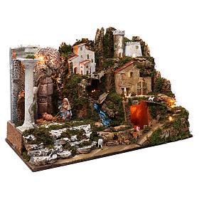 Aldeia com Natividade e cascata 50x75x40 cm s3