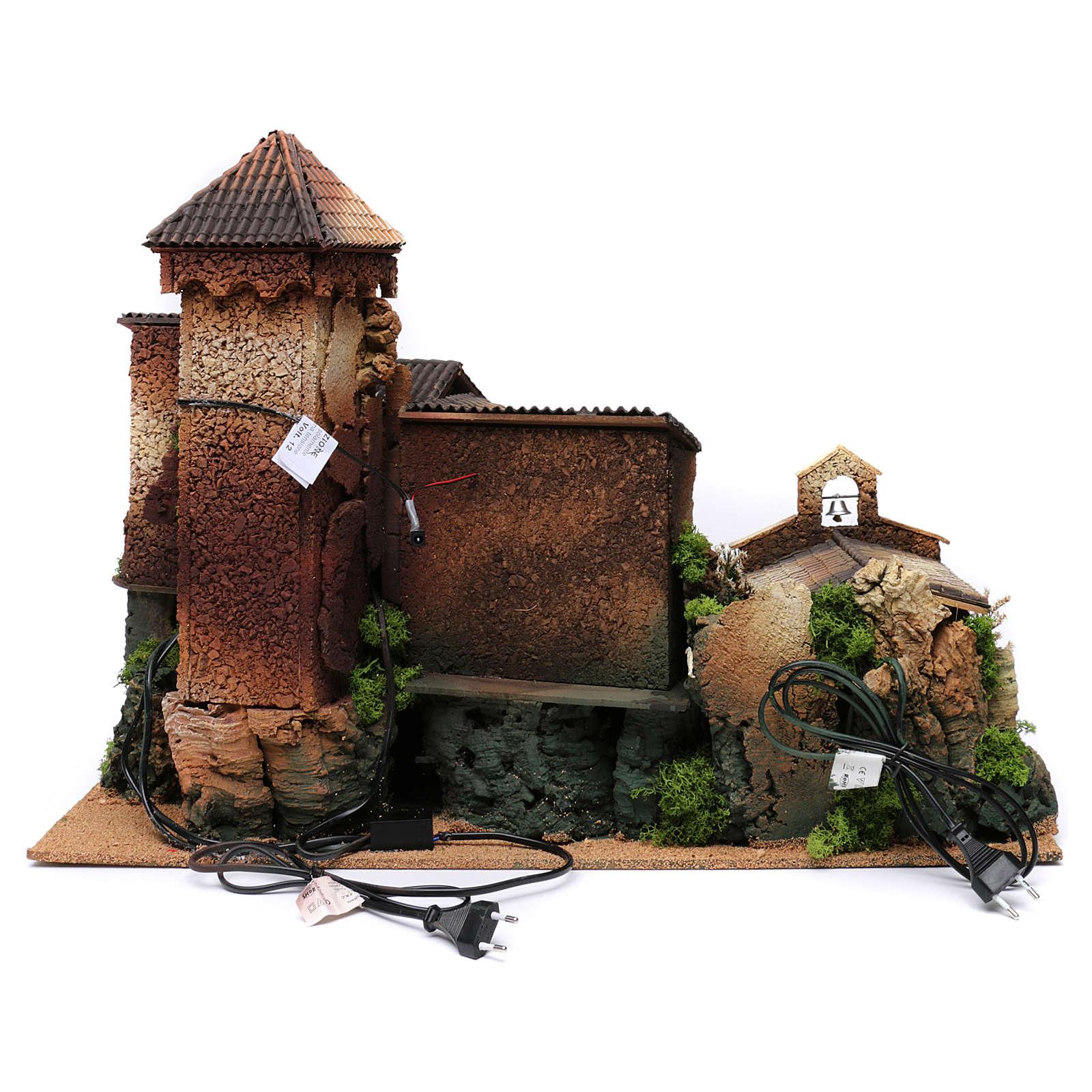 Borgo in sughero con grotta per presepe 50x70x45 cm 4