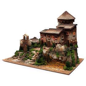 Borgo in sughero con grotta per presepe 50x70x45 cm s2