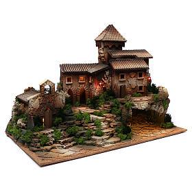 Borgo in sughero con grotta per presepe 50x70x45 cm s3