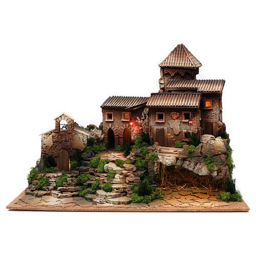 Borgo in sughero con grotta per presepe 50x70x45 cm 1
