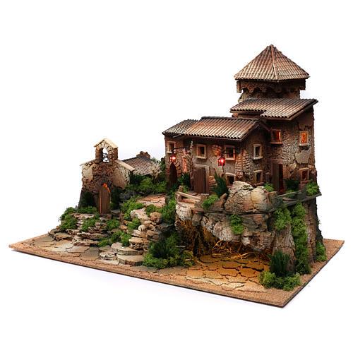Borgo in sughero con grotta per presepe 50x70x45 cm 2
