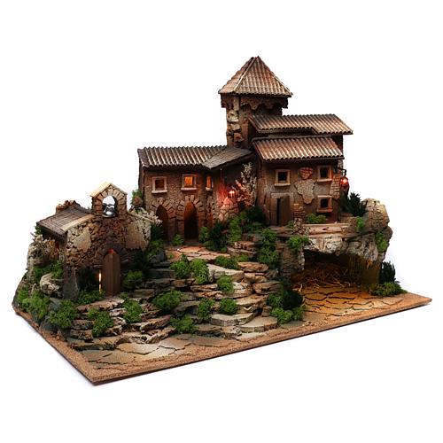Borgo in sughero con grotta per presepe 50x70x45 cm 3