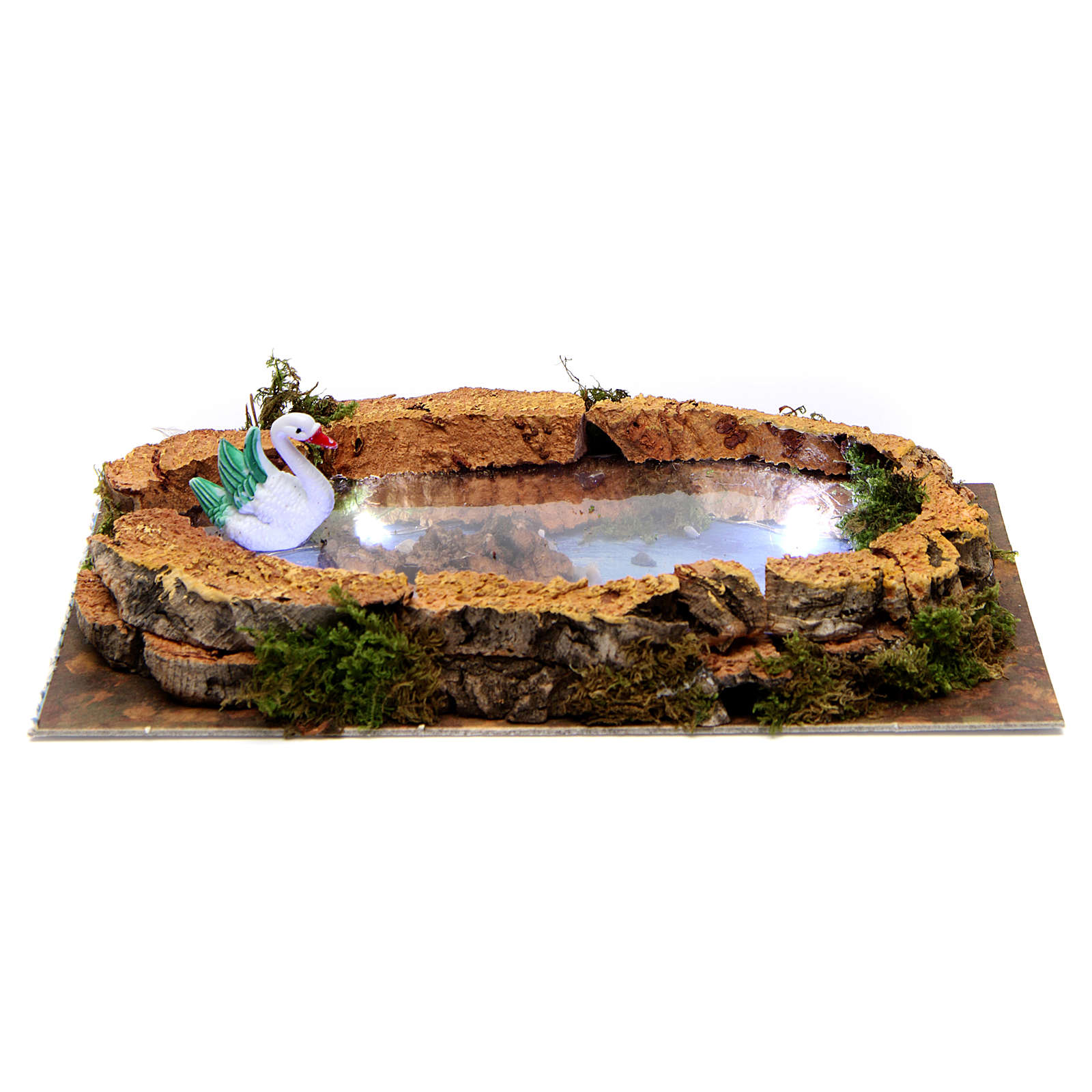 Lake with swan and lights for Nativity Scene 5x20x10 cm 4