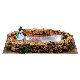 Lake with swan and lights for Nativity Scene 5x20x10 cm s1