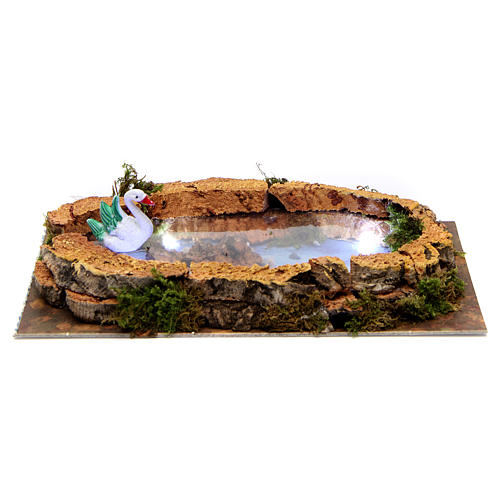 Lake with swan and lights for Nativity Scene 5x20x10 cm 1