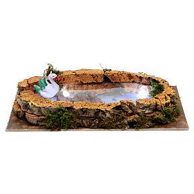 Puentes, Ríos y Empalizadas: Lago con cisne y luces para belén 5x20x10 cm