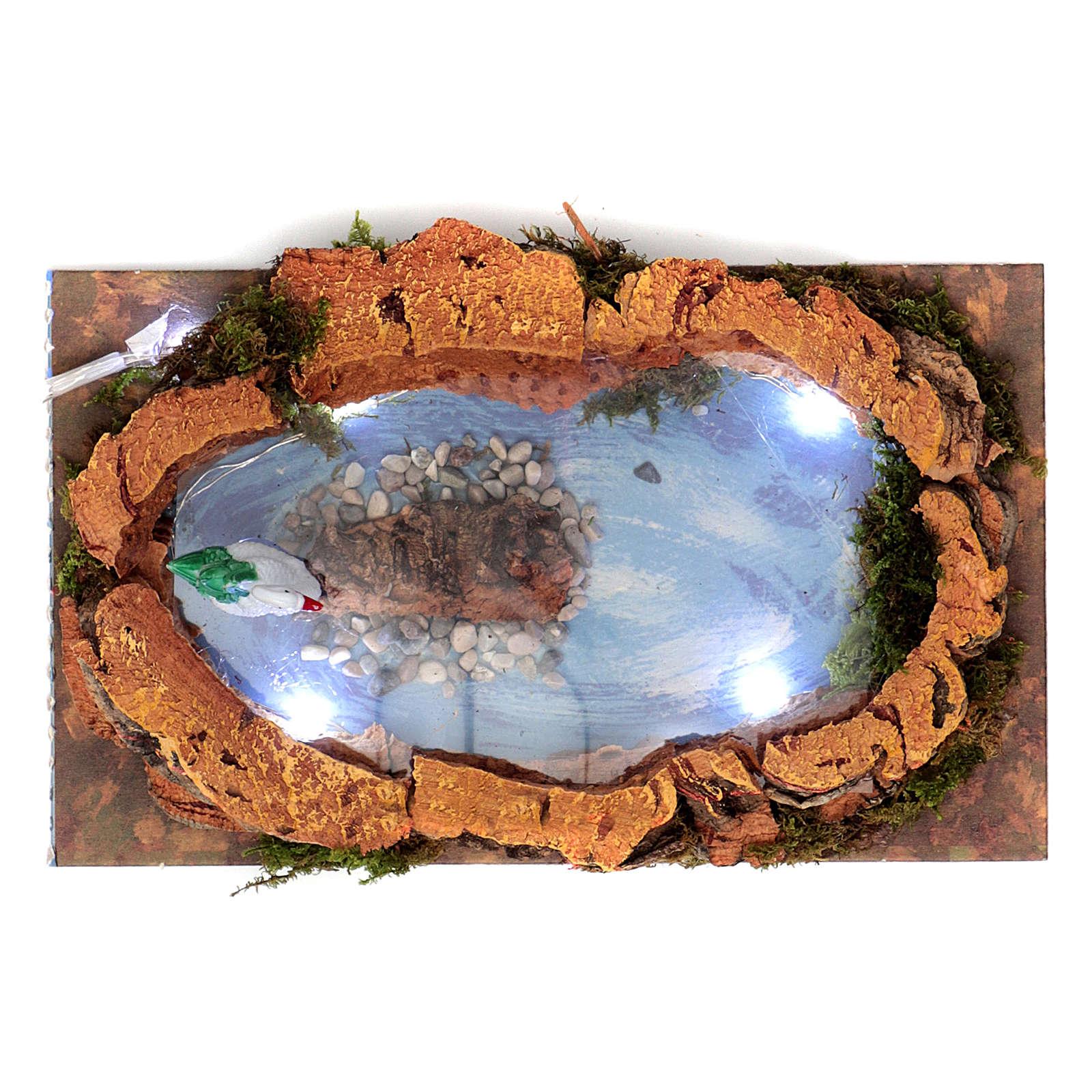 Lac avec cygne et lumières pour crèche 5x20x10 cm 4