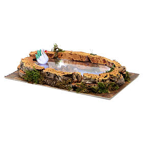 Pond with Swan and lights for nativity 5x20x10 cm s4