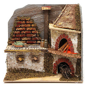 Kitchen with wood-fired oven for Nativity Scene 20x20x15 cm s1