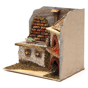 Kitchen with wood-fired oven for Nativity Scene 20x20x15 cm s2