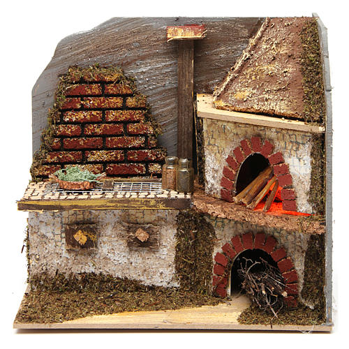 Kitchen with wood-fired oven for Nativity Scene 20x20x15 cm 1