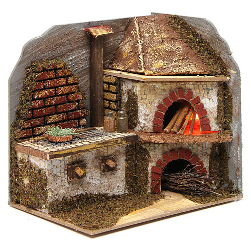 Kitchen with wood-fired oven for Nativity Scene 20x20x15 cm 3