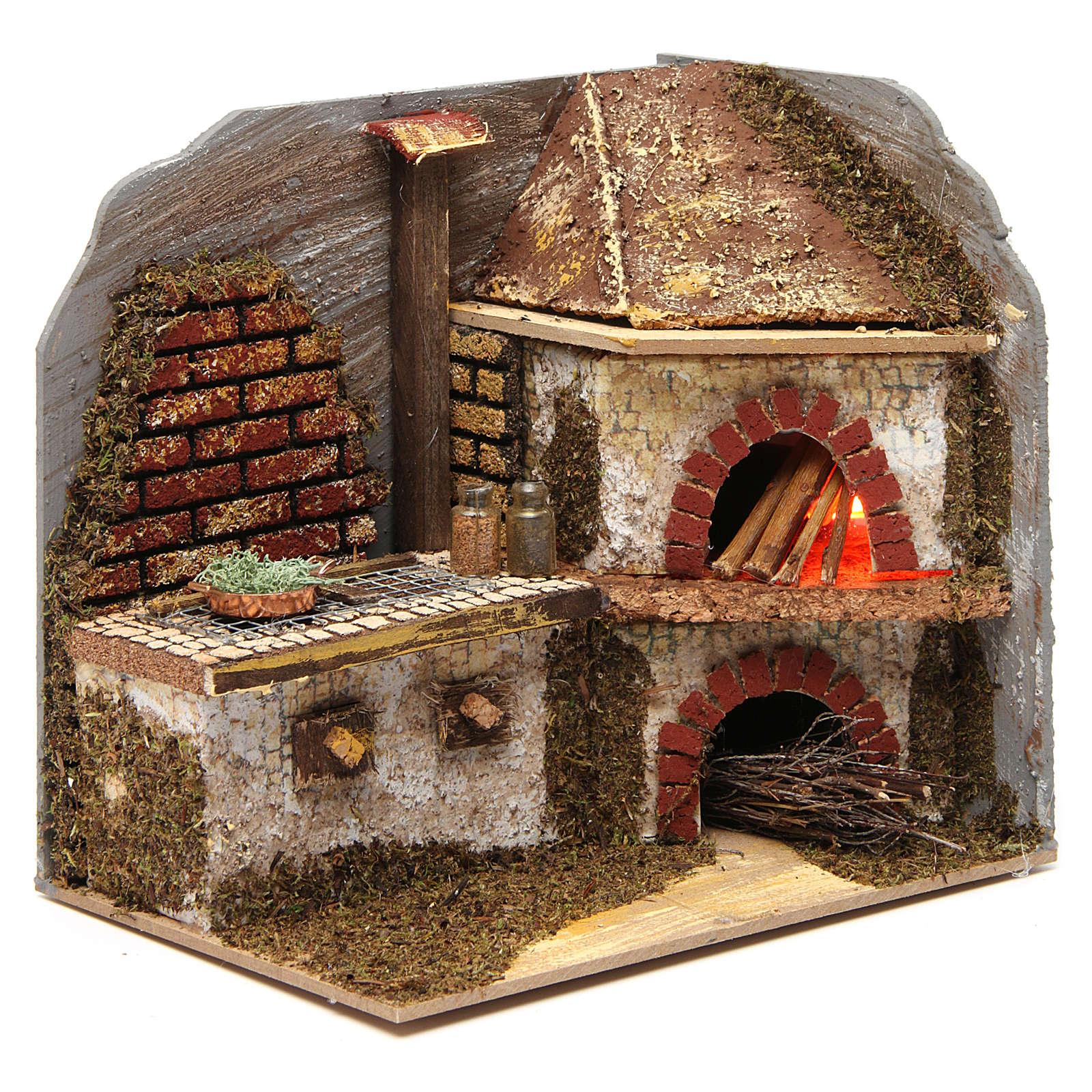 Cucina con forno a legna per presepe 20x20x15 cm