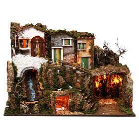 Ambientações para Presépio: lojas, casas, poços: Casinhas com gruta 55x75x40 cm