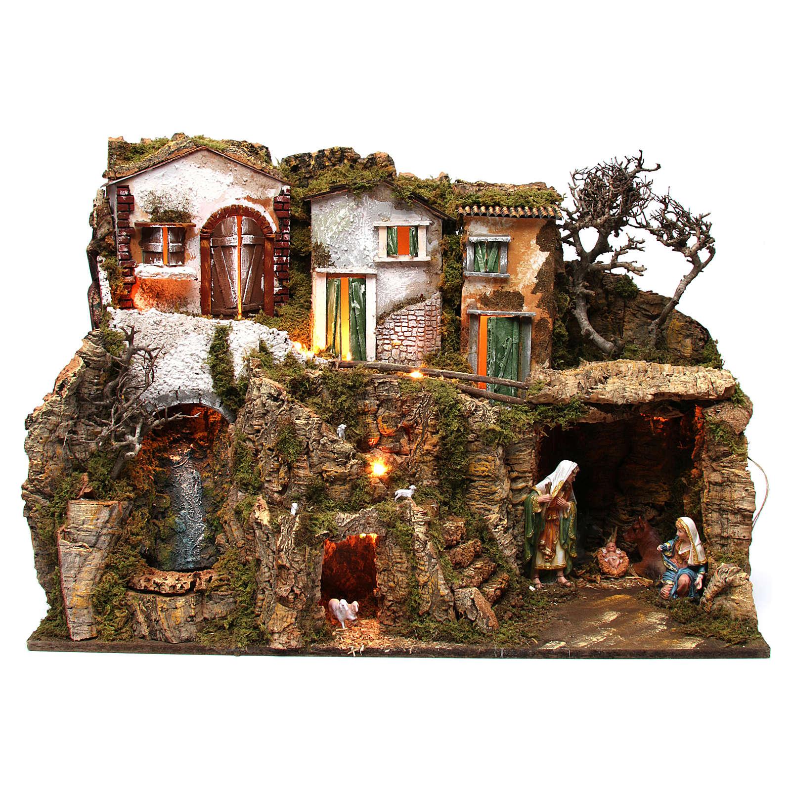 Aldea con cueva y natividad 55x75x40 cm 4