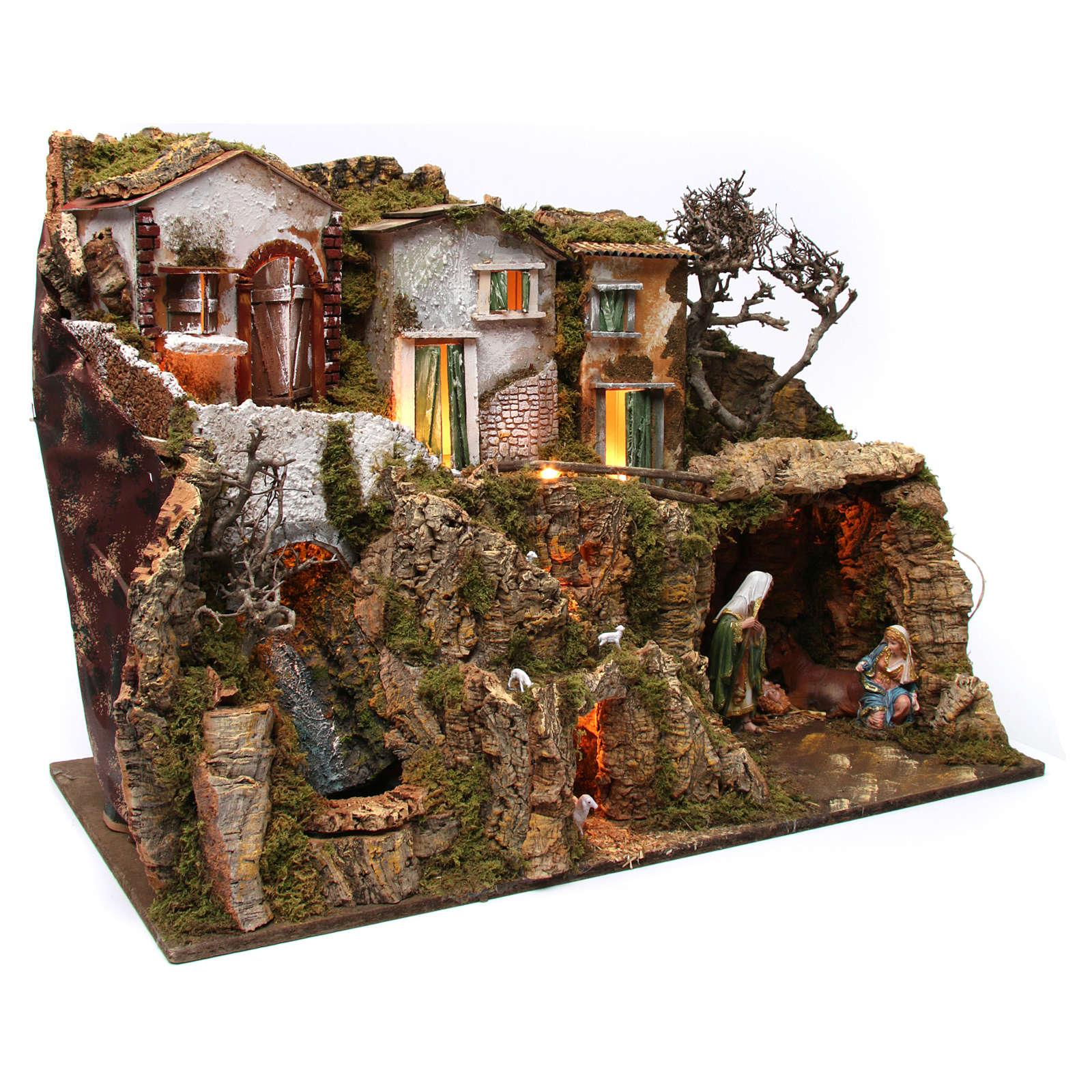 Villaggio con grotta e natività 55x75x40 cm  4