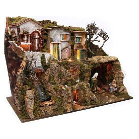 Villaggio con grotta e natività 55x75x40 cm  s4