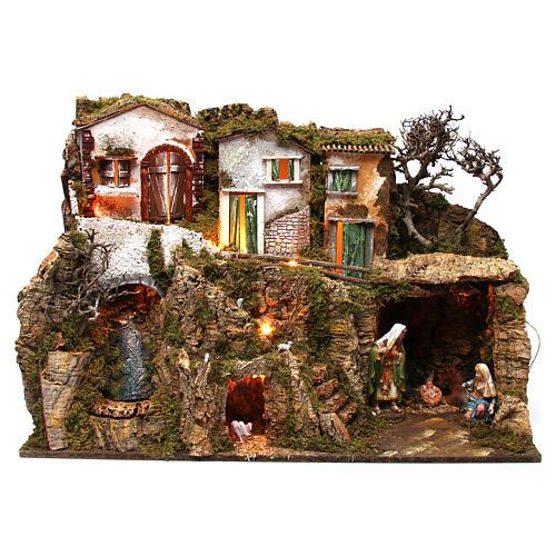 Villaggio con grotta e natività 55x75x40 cm  1
