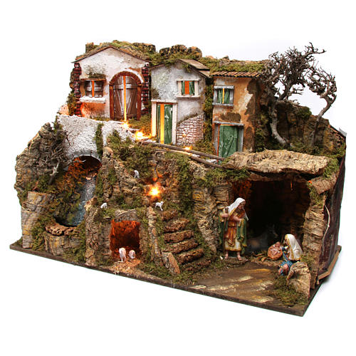 Villaggio con grotta e natività 55x75x40 cm  3