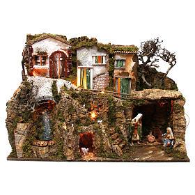 Ambientações para Presépio: lojas, casas, poços: Aldeia com gruta e natividade 55x75x40 cm