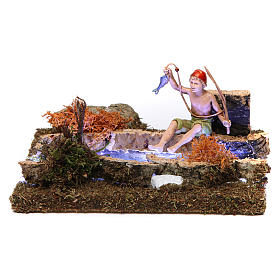 Bridges, streams and fences for Nativity scene: River with battery-operated led lights and fisherman 10x15x15