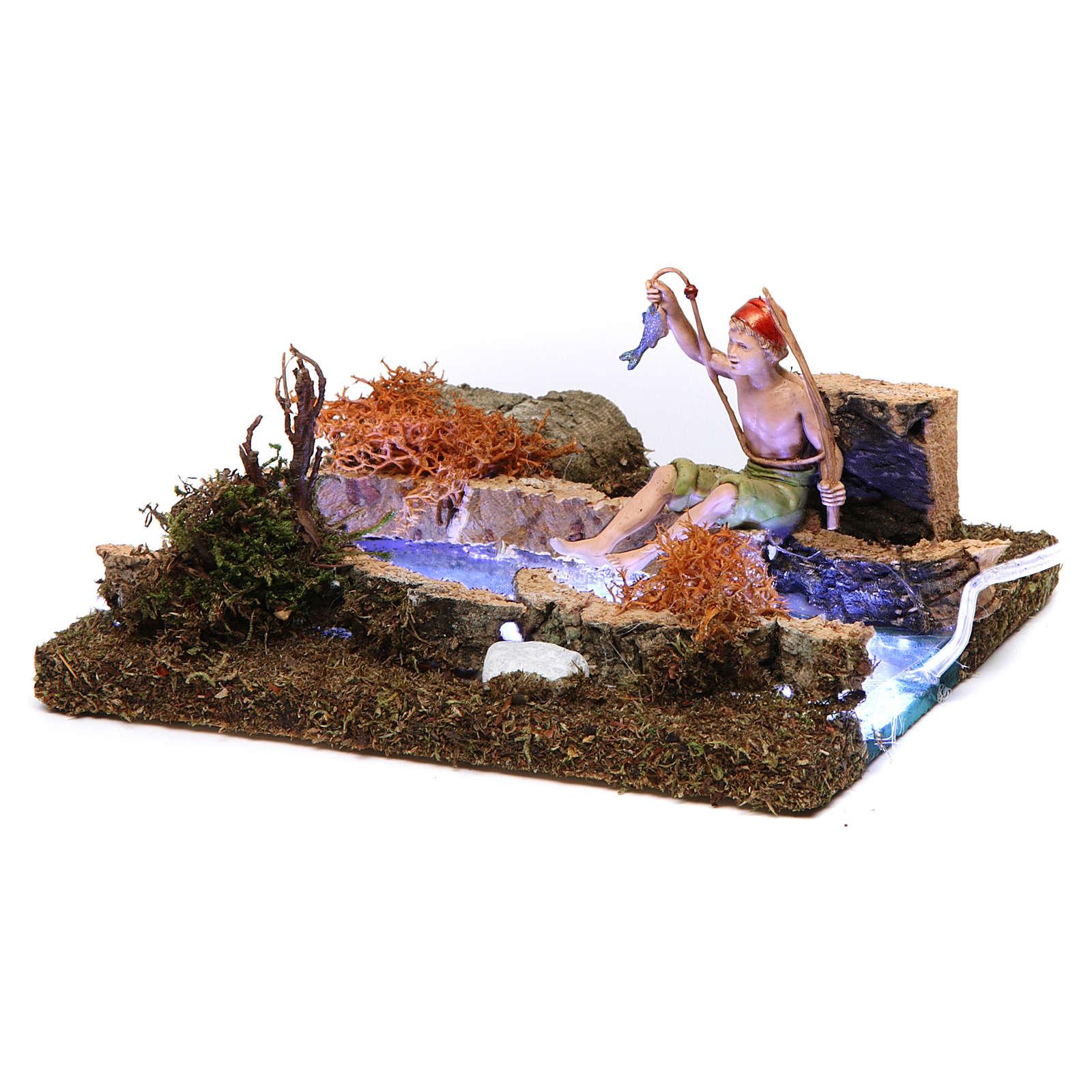 Fleuve avec Led à piles et pêcheur 10x15x15 cm 4