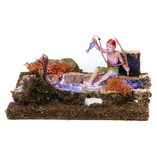 Fleuve avec Led à piles et pêcheur 10x15x15 cm 1