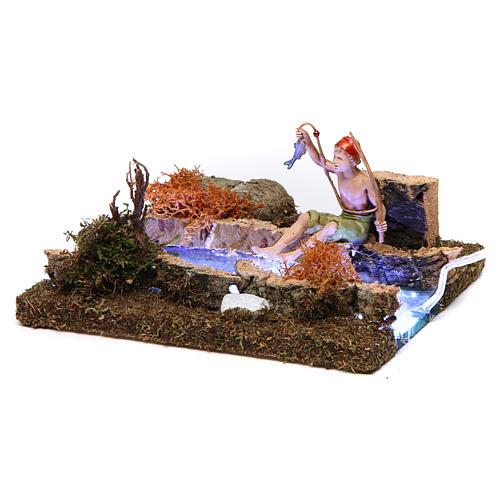 Fleuve avec Led à piles et pêcheur 10x15x15 cm 3