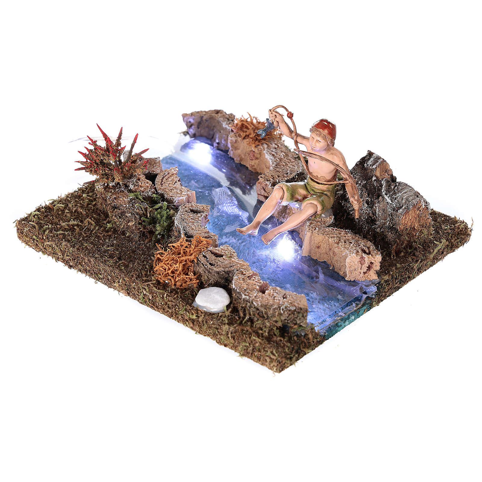 Rio com Led de pilhas e pescador 10x15x15 cm 4