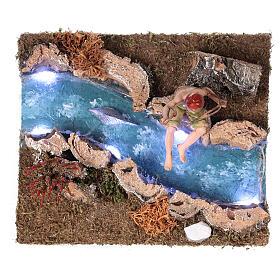 Rio com Led de pilhas e pescador 10x15x15 cm s1