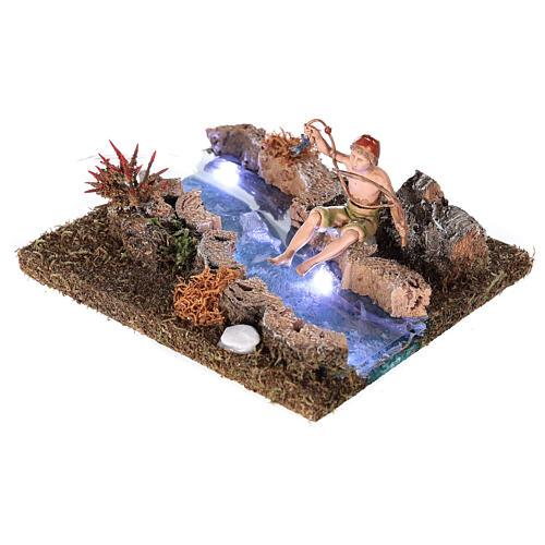 Rio com Led de pilhas e pescador 10x15x15 cm 3