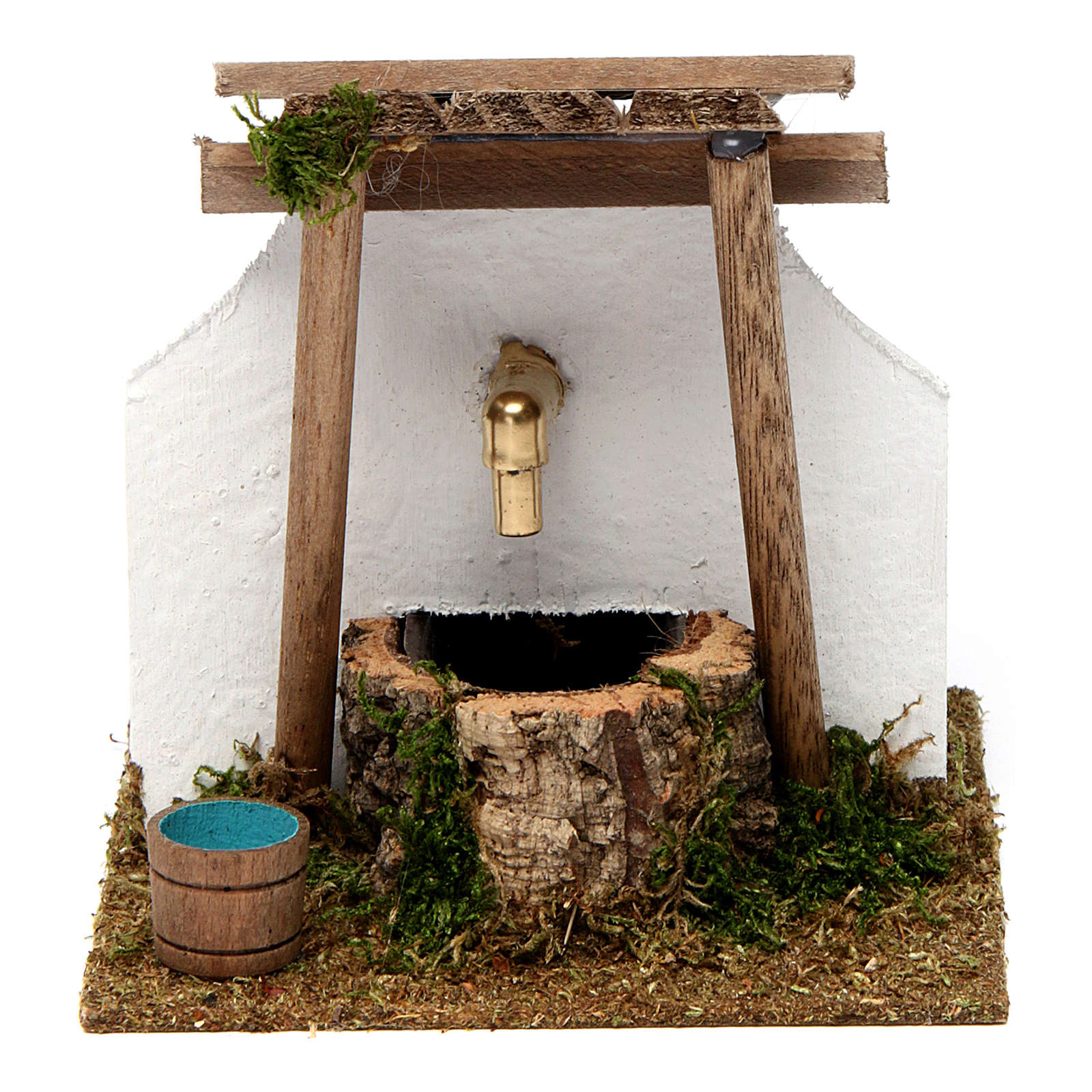 Fontana con tettoia di legno e pompa ad acqua 15x15x15 cm 4