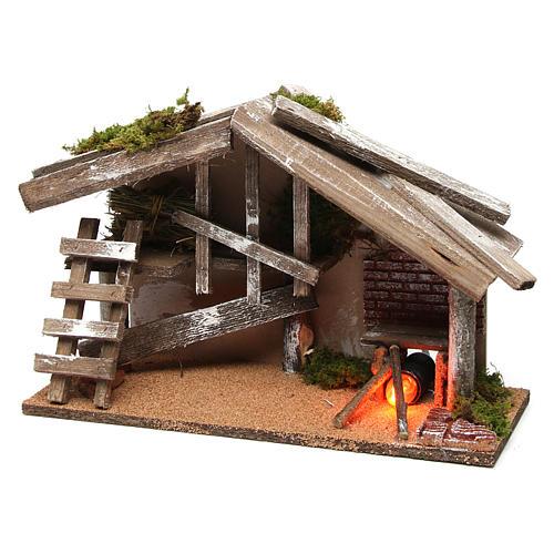 Capanna in legno con forno 25x35x15 cm 2