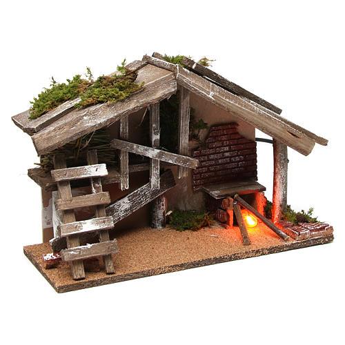Capanna in legno con forno 25x35x15 cm 3
